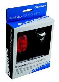 GIANT BIKE ILLUMINATOR BICYCLE LIGHT COMBO FRONT AND REAR SAFETY LIGHTS