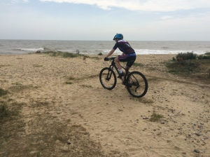 Cycling along the beach at Benacre